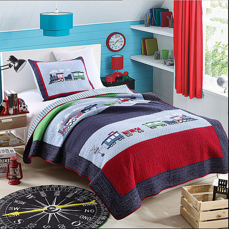 Kids Cartoon Quilt Set 2pcs Thomas Train Applique Bedspread Bed Covers Washed Cotton Quilts Coverlet Twin Size Boys Bedding Blue
