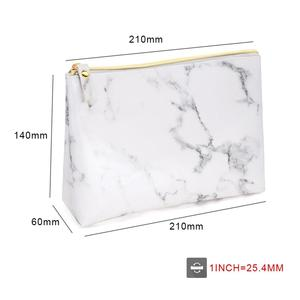 Image 5 - PU Leather Cosmetic Bag Make Up Marble Portable Ladies Travel Case Makeup Brush Organizer Storage Pouch Culture Wash Kit Bags