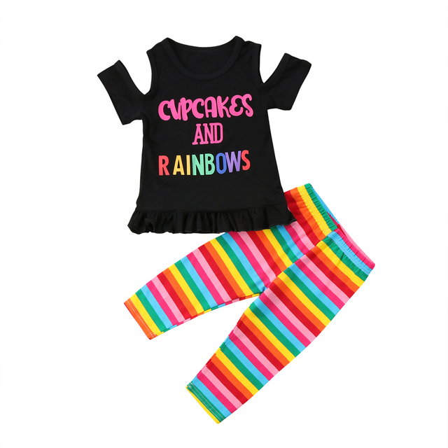 b350a95f636 Pudcoco Baby Girl Clothes Sets Children 2018 Summer Rainbow T shirts Striped  Pants Toddler Girls Suit for Kid 1 2 3 4 5 6 Years