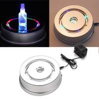 Anti Slip ABS Material Silver 3D LED Lamp Base Rotating Display Stand Lamp Holder Bases AC plug 220V
