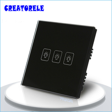 цена на UK Standard Touch Switch 3 Gang 1 Way 3 Colors Crystal Glass panel,Light Switch,Touch Screen wall switch,wall socket for lamp