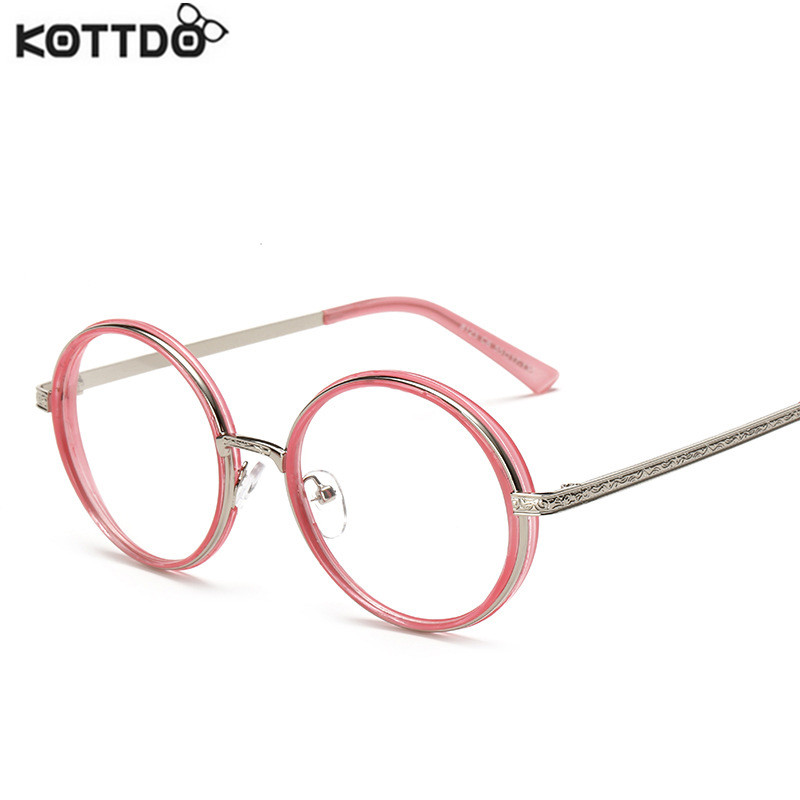 KOTTDO 2017 Vintage Round Glasses Clear Fashion Gold Round Frames Eyeglasses Women Glasses Optical Frame Men Male Nerd Metal