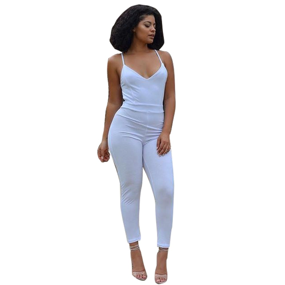 Sexy Backless Bodysuit Black Women Jumpsuits With Long Pant Spaghetti Strap V-neck Party Jumpsuit Overalls Women 2017 Rompers