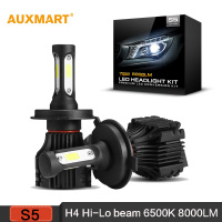 H4 Silver Hi Lo Beam LED Car Headlight Bulbs Cool White 6500K 8000LM Driving Headlight For