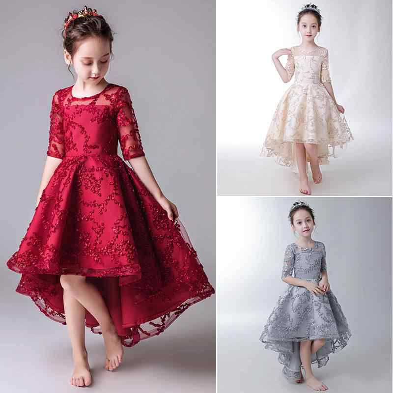 d22e57583f Kids Girls Elegant Trailing Party Dress Teens Girls Princess Wedding Formal  Prom Ball Gown Children Lace Appliques Vestidos Q287