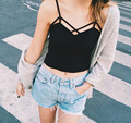 womens tops fitness sexy Suspenders Strapless stripe white crop top cropped halter  bra top