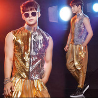 Rock and roll hip hop sequin stand collar vest costume suit summer (vest + pants) bar nightclub male singer drum jazz dance