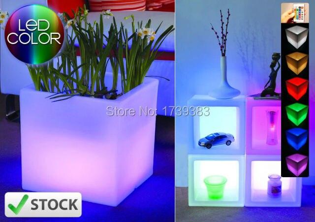 Imperméable à l'eau coloré H40cm toboggan ouvert cube LED lueur seau à glace carré Pot de fleur planteur polyvalent cubique Pot lumière sans fil