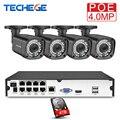 Techege 8CH h.265 4MP POE камеры безопасности Системы комплект открытый Водонепроницаемый 2560*1440 комплект видеонаблюдения PoE комплект видеонаблюдения...