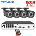 Techege 8CH h.265 4MP POE bewakingscamera Kit Outdoor Waterdichte 2560*1440 Surveillance Kit PoE Surveillance Kit Onvif