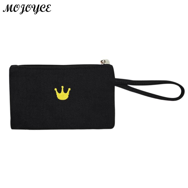 Simple Style Mini Bags Canvas Printing Crown Cat Girl Wallet Purse Clutch Bag for Ladies Messenger Gifts Phone Wristlet Handbag