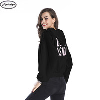 2017 Autumn Winter Women Fashion Letter Print Loose Hooded Hoodie Casual Tops Pullovers Hoodies Sweatshirts