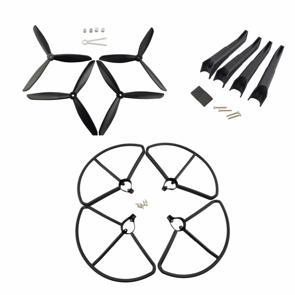 Hubsan X4 H501S H501C Four-axis aircraft upgrade parts landing gear and propeller and protective cover UAV parts + Black
