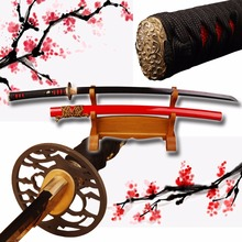 Japanese Handmade Vintage Samurai Sword Folded Steel Clay Tempered Black Katana Full Tang Sharp Edge Knife Can Cut Bamboo