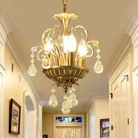 Darmowa wysyłka mosiądz kolor kryształ lampa wisząca twórcze restauracja wisiorek światło lampy wiszące współczesne nowoczesne 110 240 V oświetlenie w Wiszące lampki od Lampy i oświetlenie na