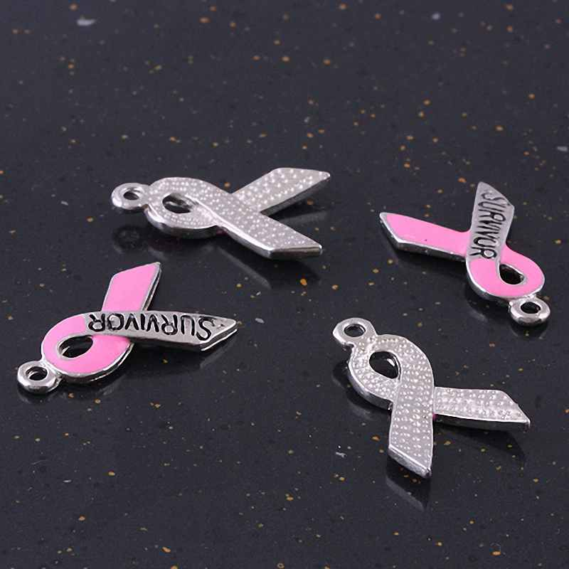 1Lot (20Pc) Carved SURVIVOR Enamel Ribbon Dangle Charms European Bead AIDS Breast Cancer Awareness