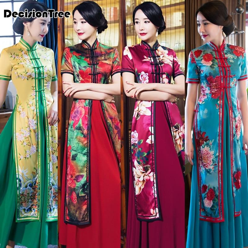 2017 ljeto ao dai cheongsam folk stil vietnam haljine široka noga - Nacionalna odjeća - Foto 4
