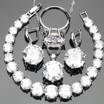 White Zirconia Silver 925 Costume Jewelry Sets