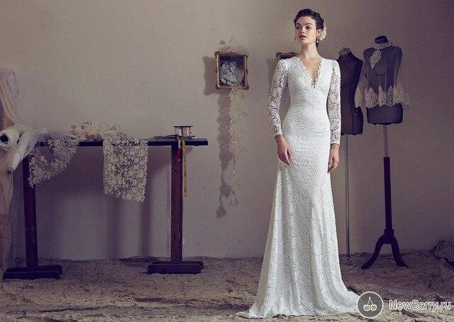 Fashion Hot Roman Belavan Lace V Neck Mermaid Wedding Dress Open ...