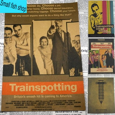 Trainspotting Ewan McGregor Classic Movie Poster Home Furnishing decoration Kraft Movie Poster Drawing core Wall stickers