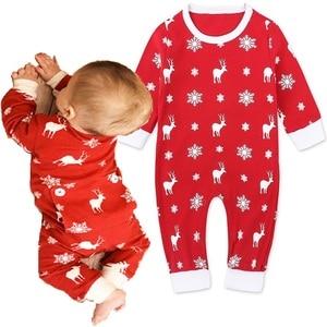 Czerwone stroje świąteczne dziewczynka ubrania renifer noworodka Xmas Romper piżamy przedwczesne kombinezony Deer Snowflake 100% Top bawełniany