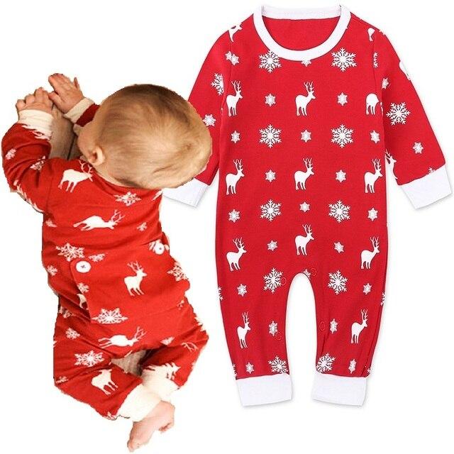 4fd434577 Trajes Do Natal Do Bebê Roupas de Menina Recém-nascidos Xmas Da Rena  vermelha Pijama