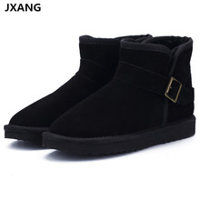 JXANG Top Quality New Fashion Genuine Cowhide Leather  Snow Boots Classic Mujer Botas Winter Shoes for Women ankle boots miyagina top quality new fashion genuine sheepskin leather snow boots 100