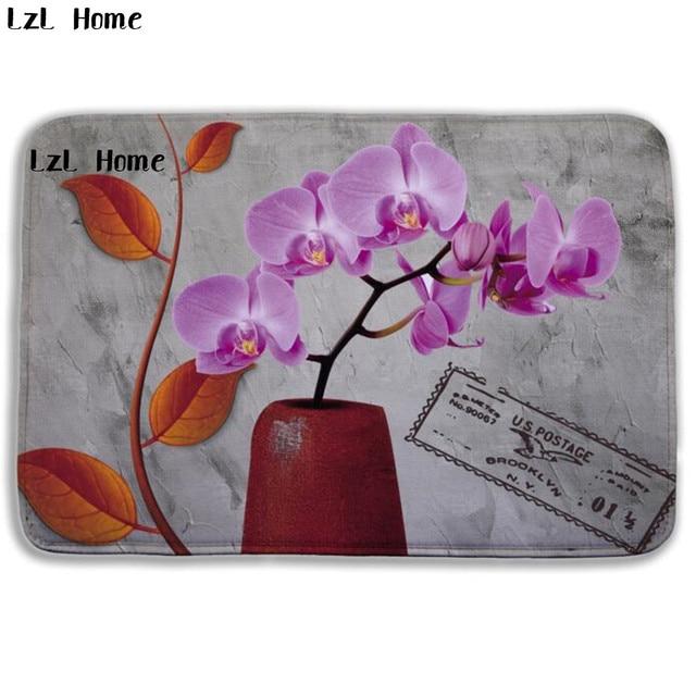 LzL Home Fancy Flowers Pattern Bathroom Mat Anti slip Tapete Outdoor ...