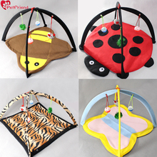 Cat Play Mat Activity Center Pet Kitten Pad Bed Cat Play Center Tent with Hanging Toy Balls and Mice for Cats