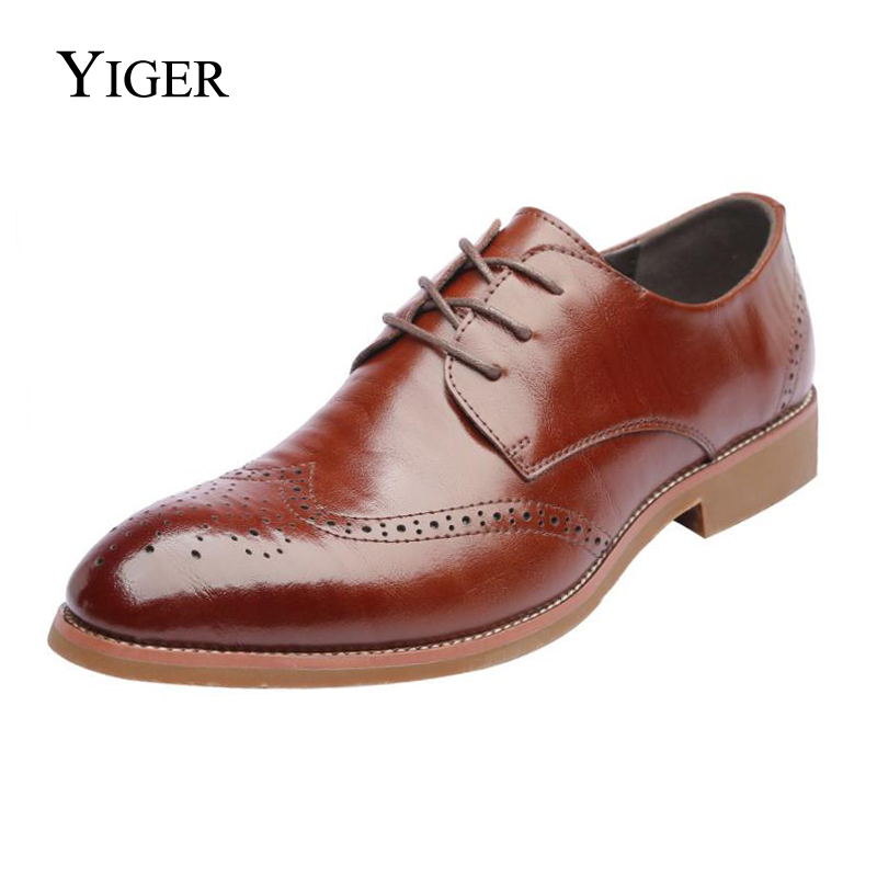 YIGER NEW Men Classic Business Formal Shoes Men Oxford Dress Shoes Pointed Toe Retro Bullock Design British Style 0036 new 2018 men business formal dress shoes oxford men leather shoes pointed toe british style men shoes brown black yj a0013