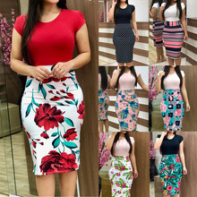 New 2019 Fashion Print Knitted Pencil Party Dress O-Neck Short Sleeve Women Summer Plus Size Casual Beach Vestidos Female