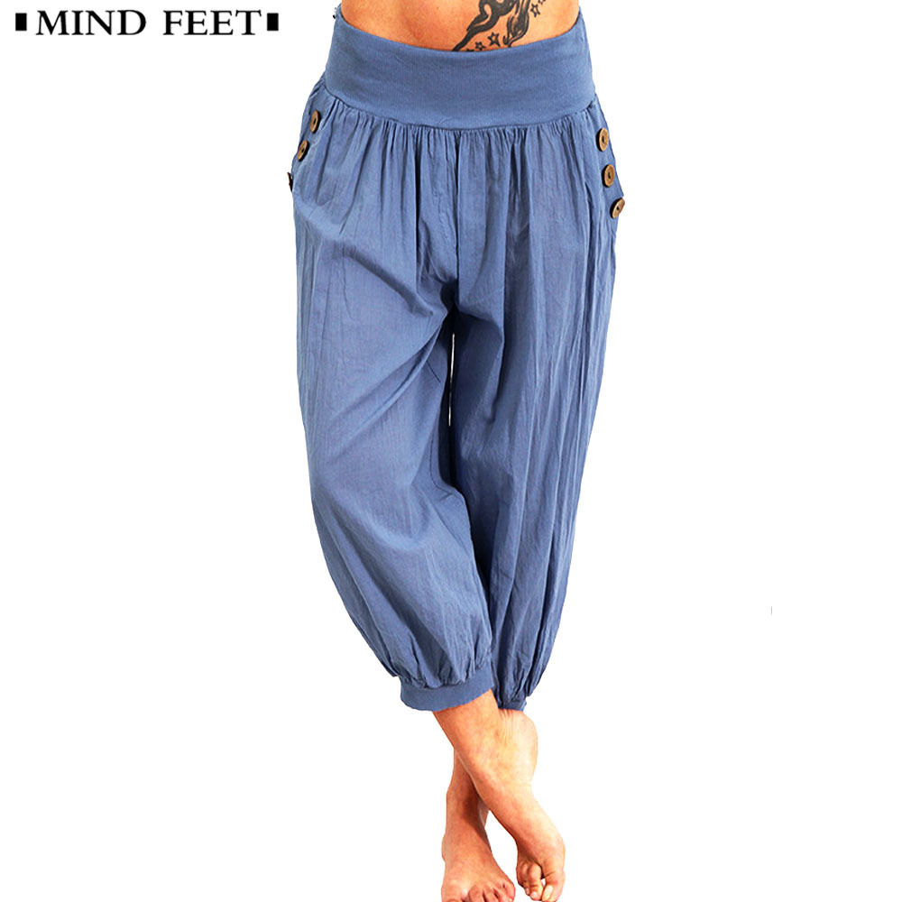 MIND FEET Women's Summer Plus Size Calf-Length Pants Short Capris Harem Pant 2018 Casual Bottoms Vintage Casual Loose Trouseres