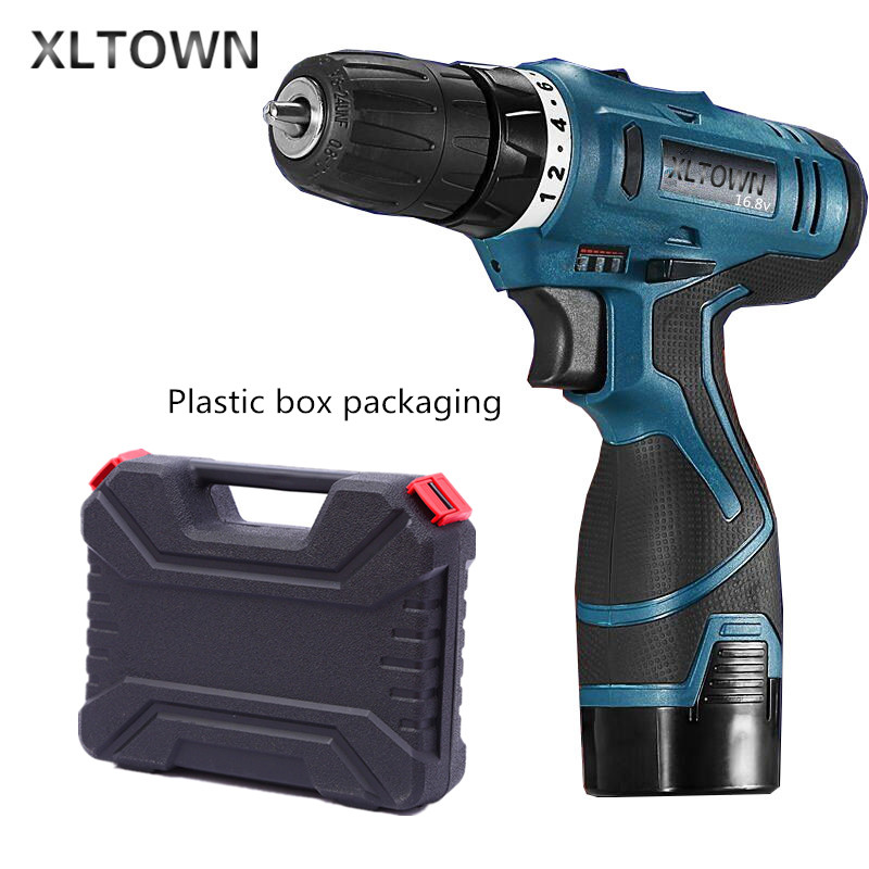 Xltown 16.8v rechargeable lithium battery durable electric screwdriver with Plastic box packaging  power tool Electric drill replacement rechargeable 3 7v 2000mah lithium battery pack with screwdriver for nintendo 3ds