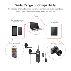 Image 4 - BOYA BY M1DM Microphone with 6M Cable Dual Head Lavalier Lapel Clip on for DSLR Canon Nikon iPhone Camcorders Recording VS BY M1