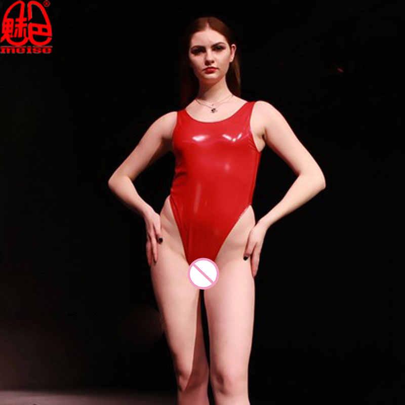 Sexy PVC Latex Sáng Bóng Cao Cắt Bodysuit Sexy Tank Tops Catsuit Một Mảnh Đồ Bơi Sân Khấu Câu Lạc Bộ Mặc Đồ Lót Khiêu Dâm Cộng Với kích thước F55