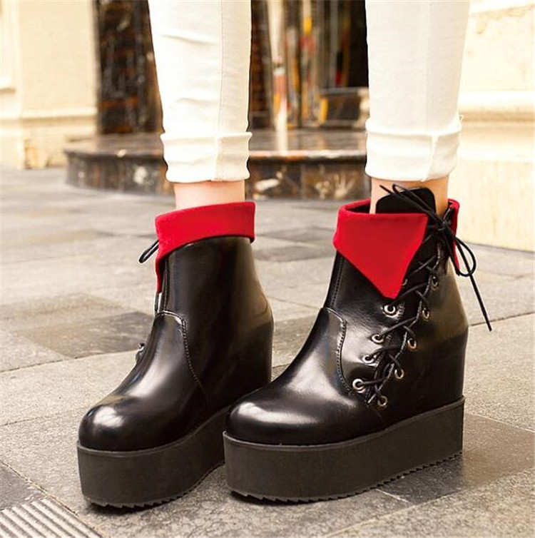 d932b7d00058f PXELENA Autumn Japan Harajuku Creepers Boots Women Punk Rock Gothic Thick  Platform Muffin Motorcycle Martin Boots Female Shoes