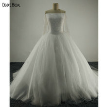 Vintage Off the Shoulder Boat Neck Bling Bling Beaded Long Sleeve Ball Gown Puffy Wedding Dresses