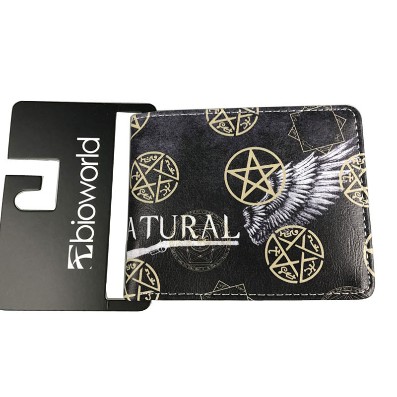 Cartoon Anime Comics Wallets Super Natural Animation Purse Men Women Leather Dollar Bag Movie Supernatural Short Wallet carteira image