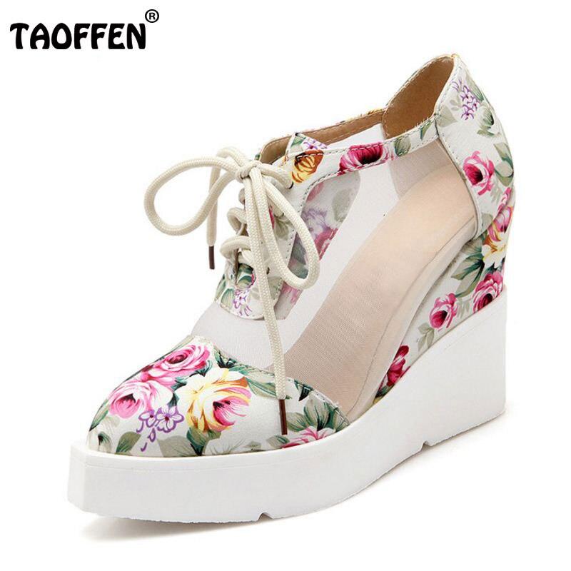 Taoffen/размеры 34–42 Для женщин на высоком туфли-лодочки на танкетке с цветочным принтом с перекрестными ремешками обувь на высоком каблуке Для...