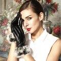 Женщины в коммерция натуральная овчина кожа с естественная мех кролика рекс перчатки зима тёплый кожа голве
