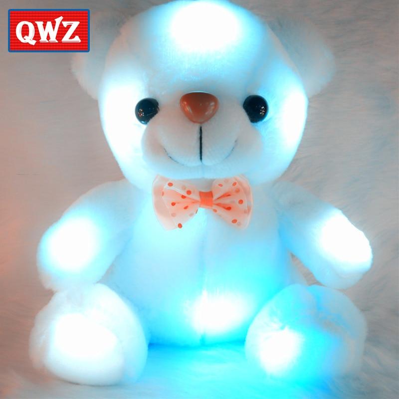 Новинка, Яркий светящийся плюшевый мишка QWZ, 22 см, светящиеся плюшевые игрушки, светодиодный медведь, мягкая плюшевая кукла, игрушка, мишка т...