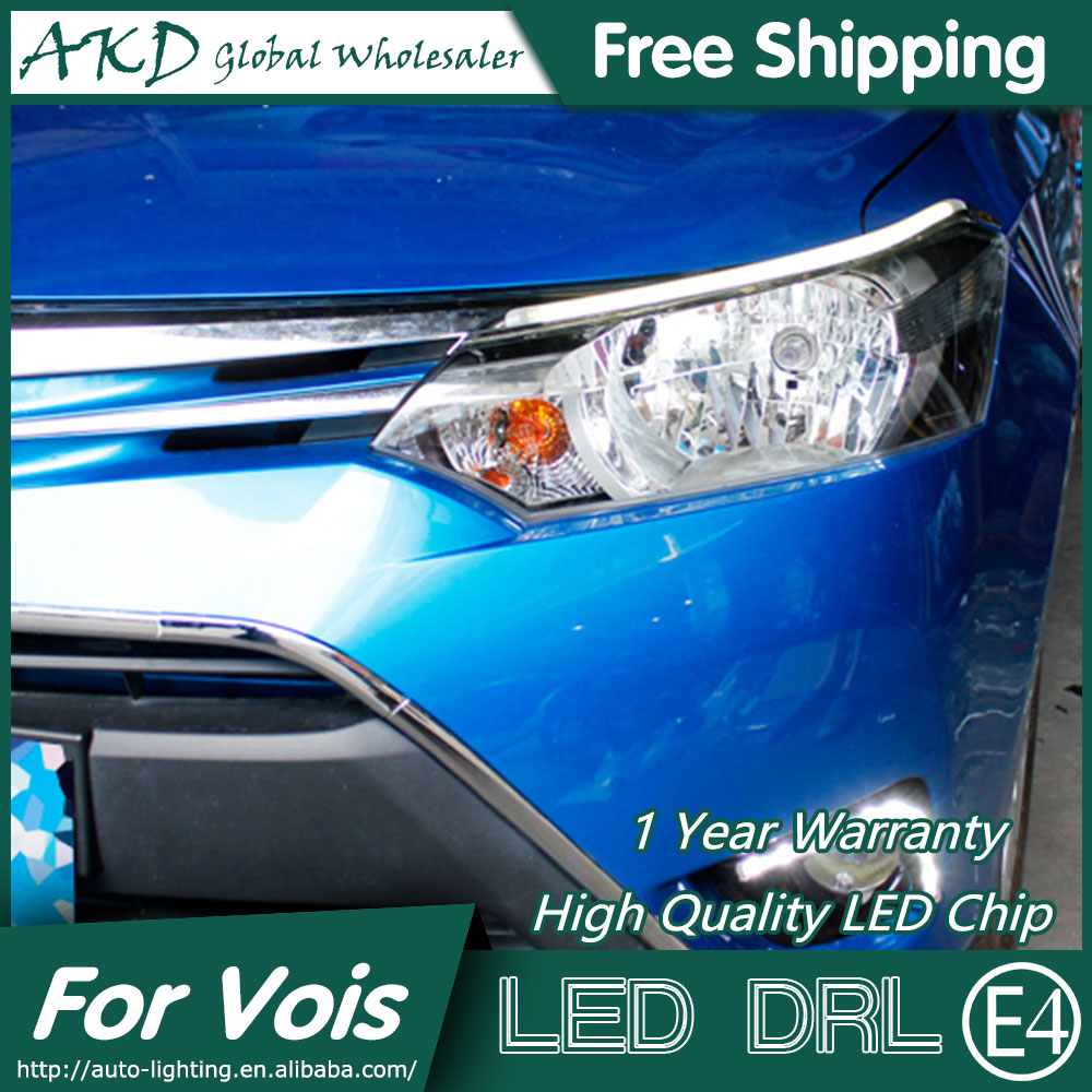AKD Car Styling LED DRL for Toyota Vois 2014-2015 New Vois Eye Brow Light LED External Lamp Signal Parking Accessories akd car styling led drl for kia k2 2012 2014 new rio eye brow light led external lamp signal parking accessories