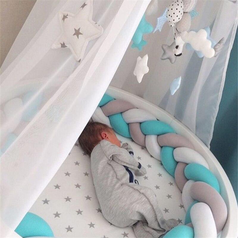 2 M/3 M cuna de bebé Protector nudo cama de bebé parachoques tejido de felpa cuna infantil cojín para recién nacidos cama de guardería parachoques decoración de habitación