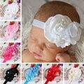 Nova Desgaste do Bebê Recém-nascido Elastic Headband Pérola Flor Rosa de Cabelo Crianças Arcos de Cabelo Menina Crianças Acessórios Para o Cabelo VCO78 P30