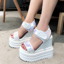 цены YeddaMavis Fish Mouth Shoes Muffin Bottom Women Shoes 2019 Summer New Women Sneakers Roman Style Slope With Thick Sandals Woman