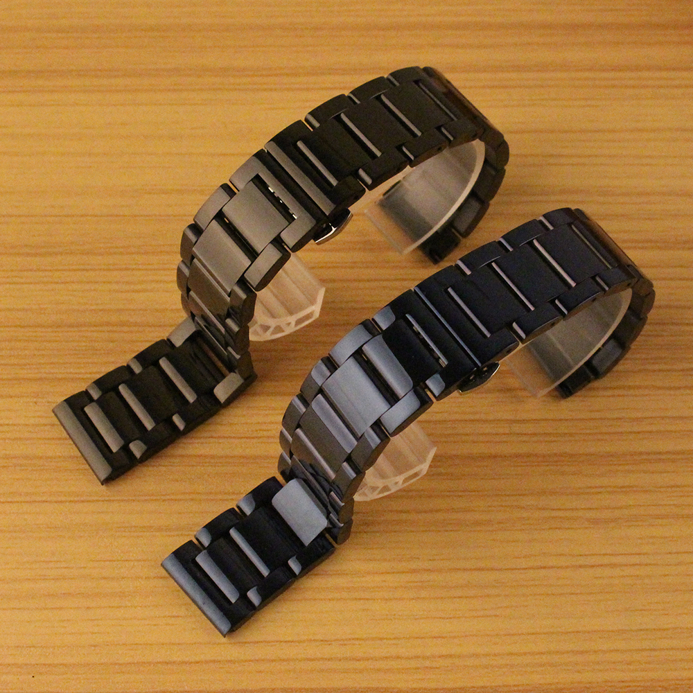 Metal Watchband 20mm 22mm Stainless Steel Watches Bands Straps Bracelet For Man Wristwatch Clock Hours dark blue black polished цена