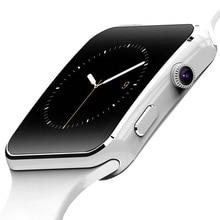 Neue Ankunft X6 الذكية Uhr mit كاميرا حامل شاشة تعمل باللمس سيم TF كارت بلوتوث هاتف الساعة الذكي ساعة ios smartwatch الرجال DZ09