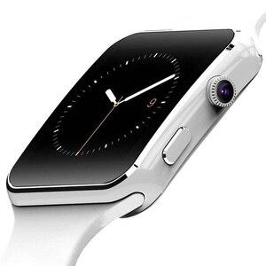 Image 1 - Neue Ankunft X6 الذكية Uhr mit كاميرا حامل شاشة تعمل باللمس سيم TF كارت بلوتوث هاتف الساعة الذكي ساعة ios smartwatch الرجال DZ09