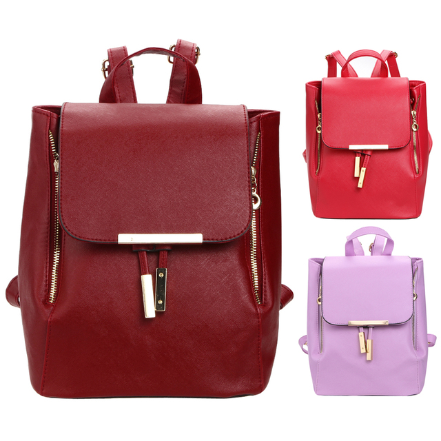 2017 New Fashion Backpack Women Leather Solid Zipper Decoration 3 Color Backpacks for Teenage Girls Travel Schoolbag Mochila