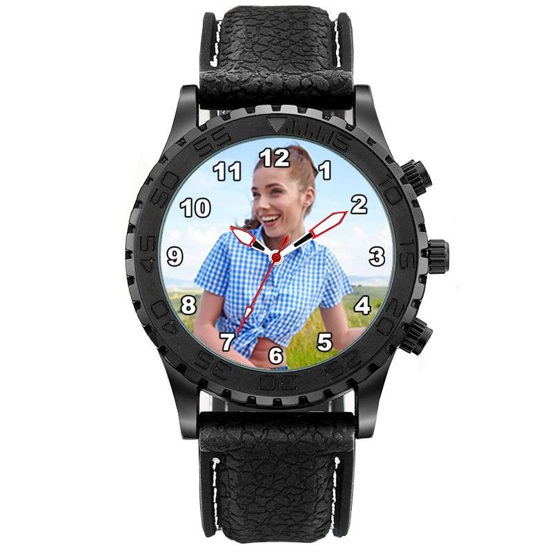 e42391f56 A3332 الرجال مخصص صور ووتش سيليكون حزام المطاط مربط الساعة للماء الرياضة  رياضة Relogio Masculino شخصية
